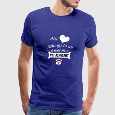 Vet Assistant Job Gift- My Heart- Birthday Present - Men's Premium T-Shirt