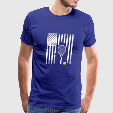 tennis american flag racket tennisball sport team - Men's Premium T-Shirt