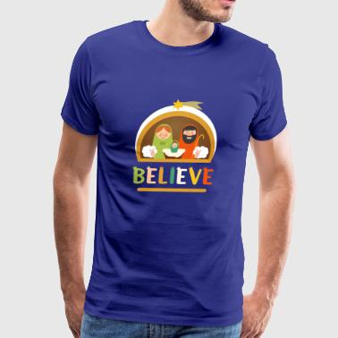 Believe Baby Jesus Christ Nativity Manger Christma - Men's Premium T-Shirt