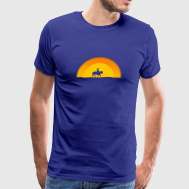 Lone Cowboy Rancher Riding Horse Western American - Men's Premium T-Shirt