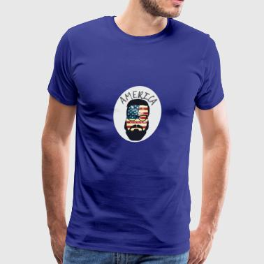 America Patriotic Beard Sunglasses Flag - Men's Premium T-Shirt