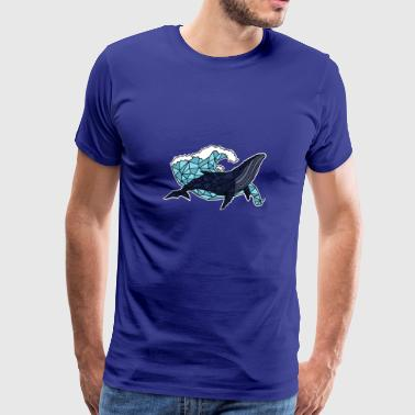 Animal Whale t-shirt. Animal print. Whale on waves - Men's Premium T-Shirt