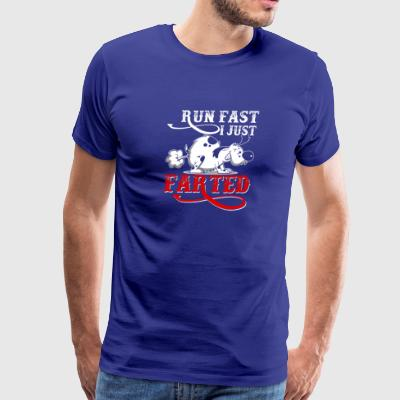 RUN FAST I JUST FARTED - Funny Dog Products - Men's Premium T-Shirt
