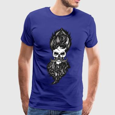 skull hipster bearded beard mustache hair hairstyl - Men's Premium T-Shirt