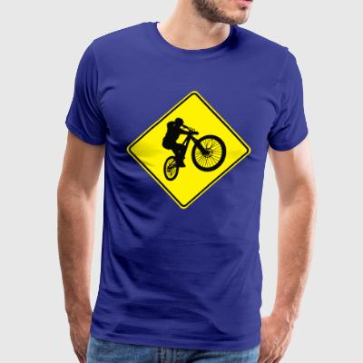 Mountain Biking Street Sign - Men's Premium T-Shirt