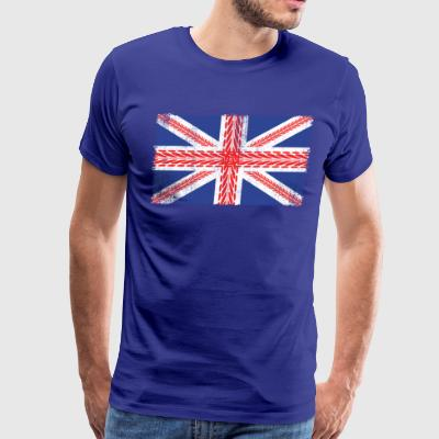 Vintage UK Flag Made of Mountainbike Tracks  MTB - Men's Premium T-Shirt