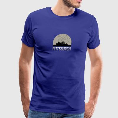 Pittsburgh Full Moon Skyline - Men's Premium T-Shirt