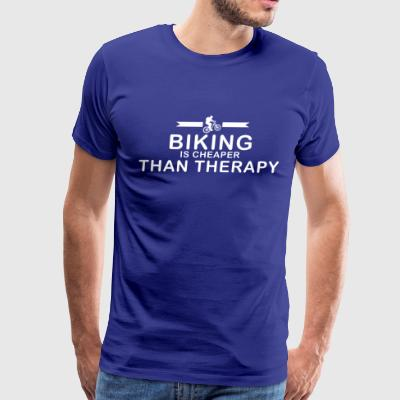 Biking is cheaper than therapy - Men's Premium T-Shirt
