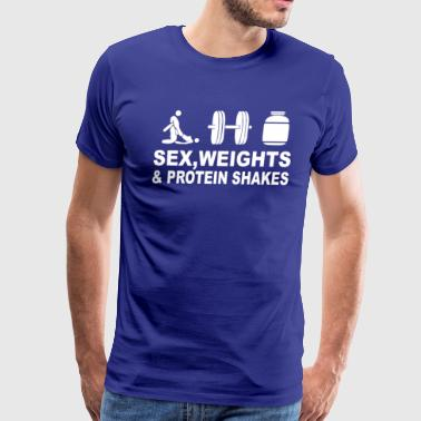 Sex Weights and Protein Shakes Funny T Shirt - Men's Premium T-Shirt
