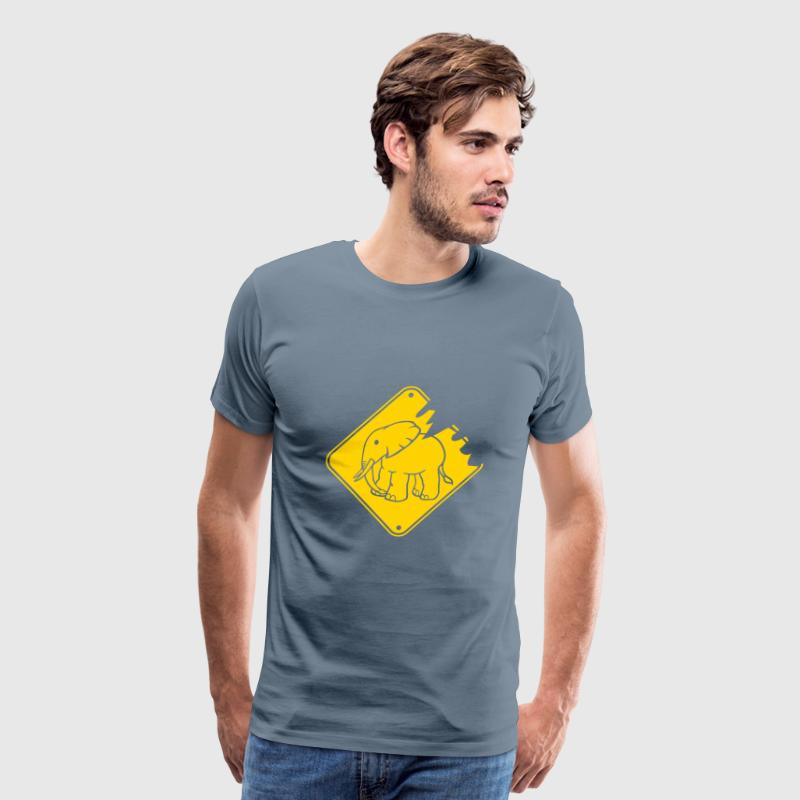 Tear warning sign yellow danger elephant small cut - Men's Premium T-Shirt