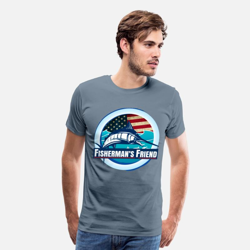 Fishermans Friend T-Shirts - Fisherman's Friend - Men's Premium T-Shirt steel blue