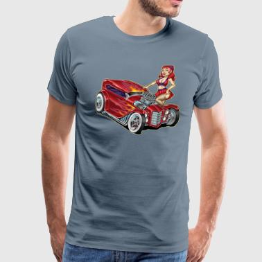 Redhead with Red Hot Rod Car-Toon - Men's Premium T-Shirt