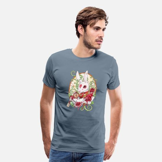 Down T-Shirts - The rabbit hole red f - Men's Premium T-Shirt steel blue