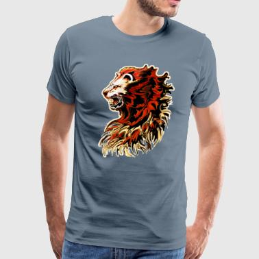 Roaring Lion King lion roar painti - Men's Premium T-Shirt