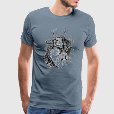 Stag dragon painting  - Men's Premium T-Shirt