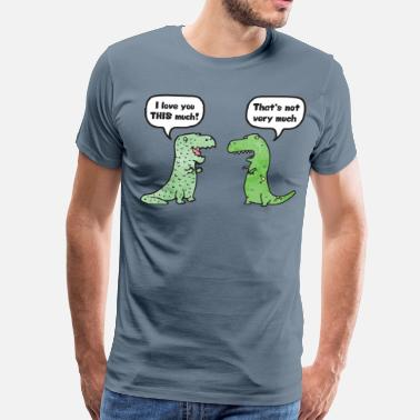 Funny Wedding T-Rex Loves You This Much - Men's Premium T-Shirt
