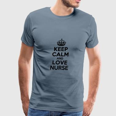 I Love Nursing Keep calm and love nurse - Men's Premium T-Shirt