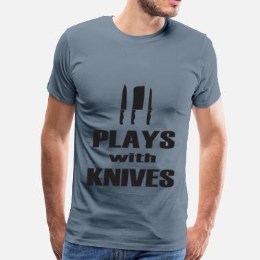 Plays With Knives Chef - Men's Premium T-Shirt