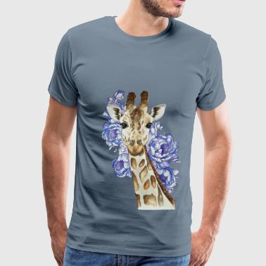 giraffe with blue flowers - Men's Premium T-Shirt