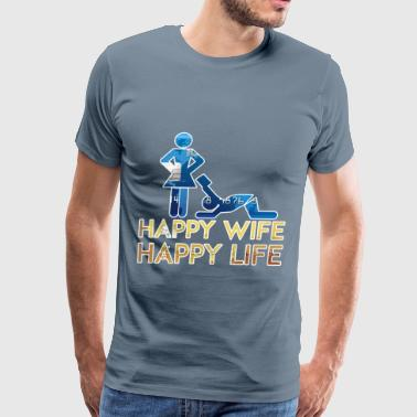 Wife - Happy wife happy life - Men's Premium T-Shirt