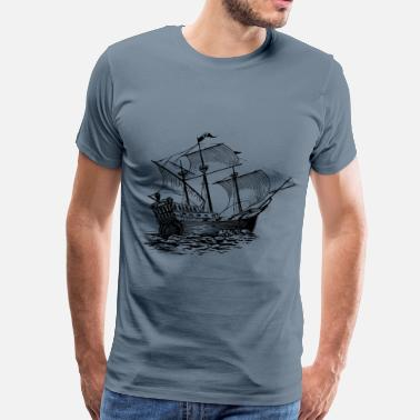 Black Sails Galleon sail ship - Men's Premium T-Shirt
