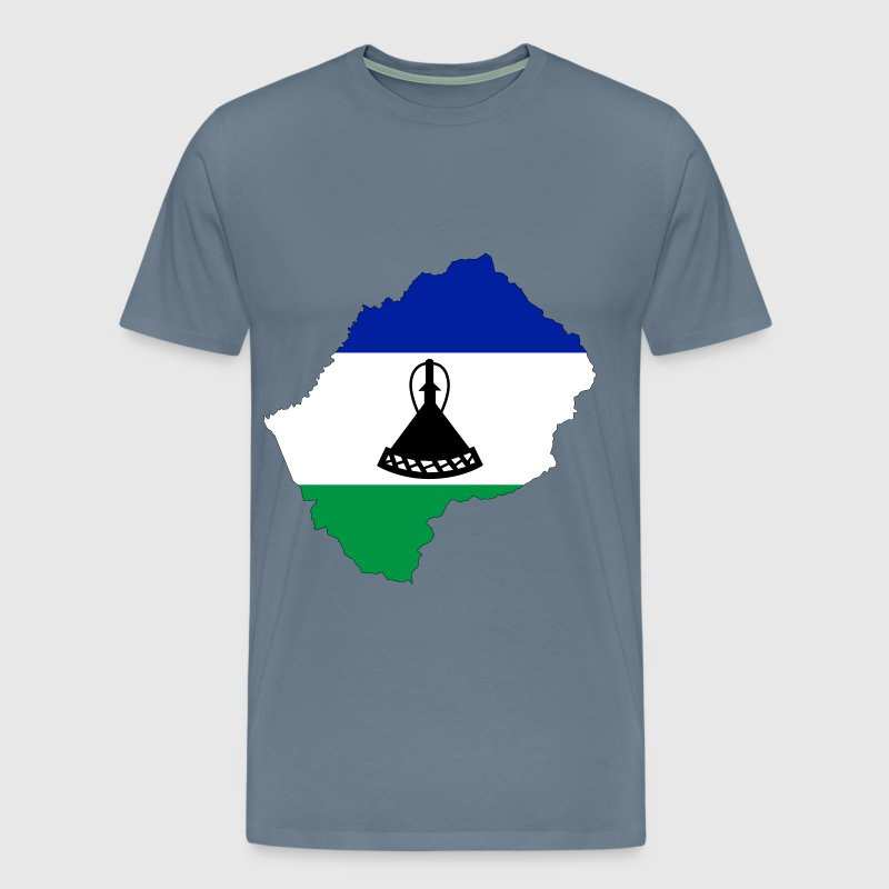Lesotho Flag Map With Stroke - Men's Premium T-Shirt