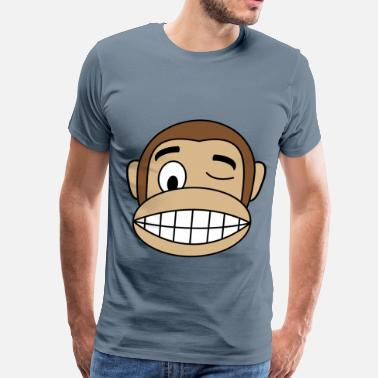 Winking Face Monkey Emoji Wink Face - Men's Premium T-Shirt