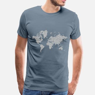 1s Prismatic Hexagonal World Map 5 No Background - Men's Premium T-Shirt