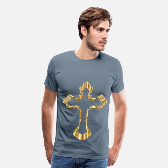 King T-Shirts - Gold Ornate Cross No Background - Men's Premium T-Shirt steel blue