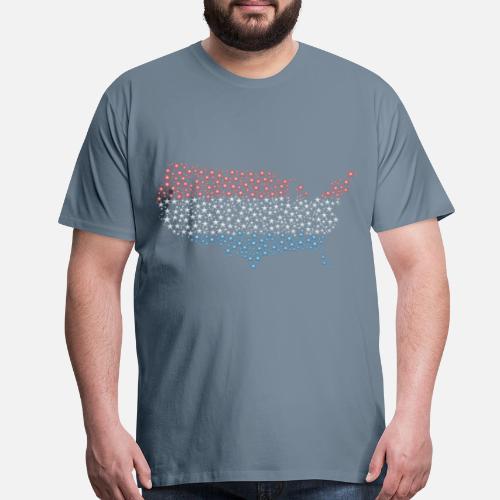 United States Map Flag Stars Enhanced Men\'s Premium T-Shirt ...