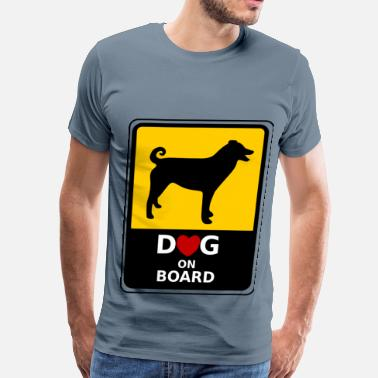 Floppy Ears Dog on Board_with floppy ears and curled tail - Men's Premium T-Shirt