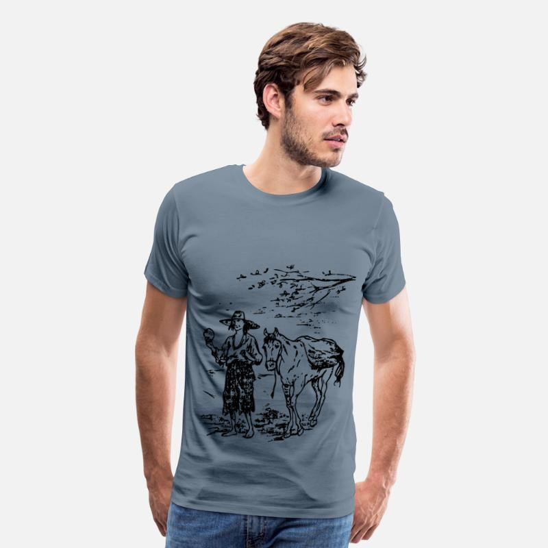 Us T-Shirts - Johnny Appleseed and Horse - Men's Premium T-Shirt steel blue