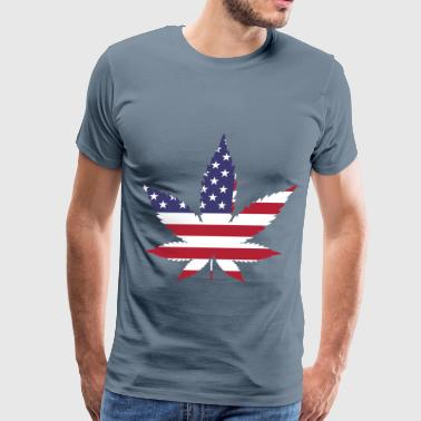 Marijuana American Flag - Men's Premium T-Shirt