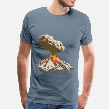 Volcano Erupting volcano with ash plume and lava flow - Men's Premium T-Shirt