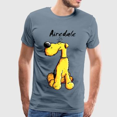 Cute Airedale Terrier Cartoon - Men's Premium T-Shirt