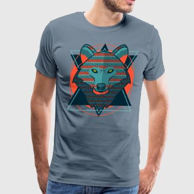 Stylized Hipster Wolf - Men's Premium T-Shirt