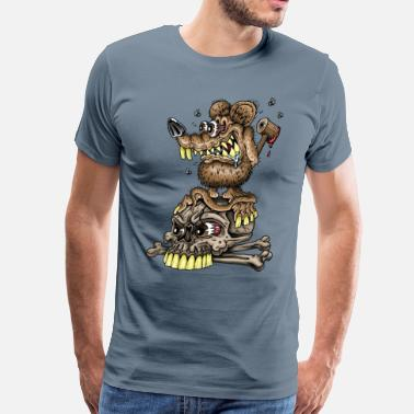 Psychobilly Cartoon Filthy Rat Car toon - Men's Premium T-Shirt
