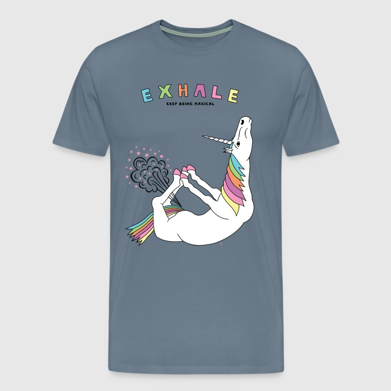 Bow Pose Unicorn Exhale Outline - Men's Premium T-Shirt