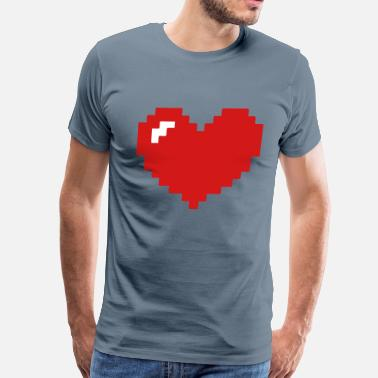 Pixelated Heart Pixel Filled - Men's Premium T-Shirt