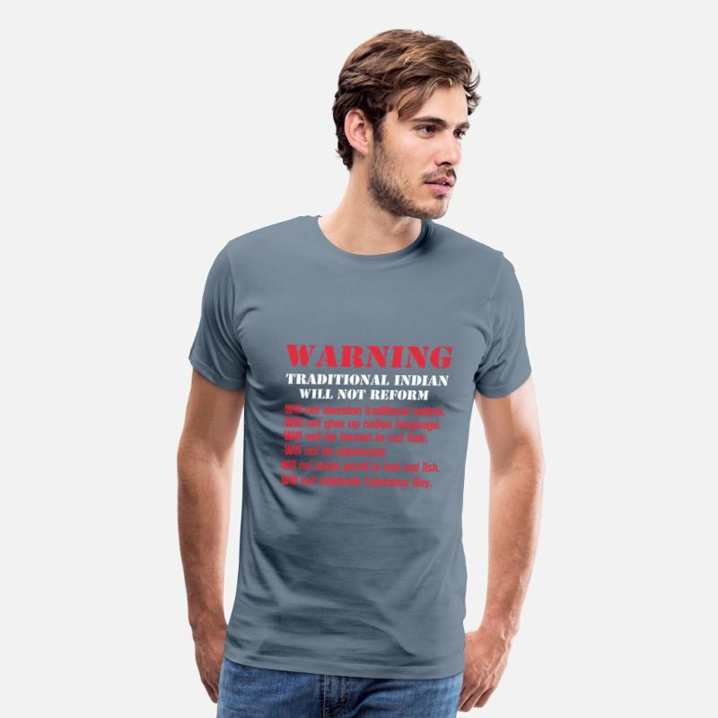 Jones T-Shirts - Traditional indian-They will not be oppressed tee - Men's Premium T-Shirt steel blue