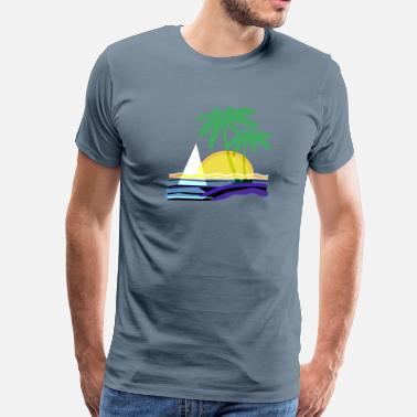 Caribbean Tropical Geometric Sailboat and Palm Trees in the Tropics - Men's Premium T-Shirt