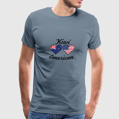 Kiwi American Flag Hearts - Men's Premium T-Shirt