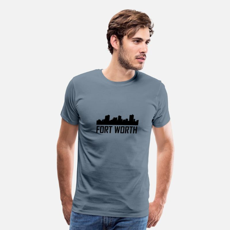 Silhouette T-Shirts - Fort Worth Texas City Skyline - Men's Premium T-Shirt steel blue