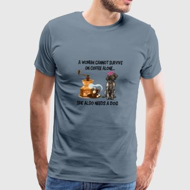 A Woman Cannot Survive On Coffee Alone German Shorthaired Pointer - Men's Premium T-Shirt