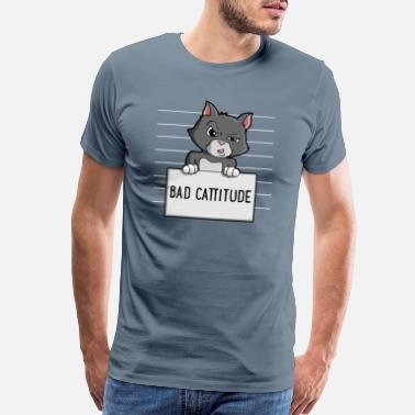 Attitude Bad Cattitude Funny Cat Lovers Gift Kitten Kitty M - Men's Premium T-Shirt