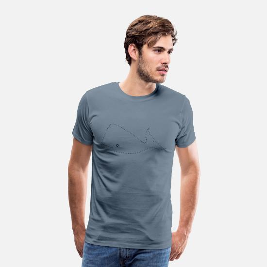 Coloring T-Shirts - Trace and colour the whale - Men's Premium T-Shirt steel blue
