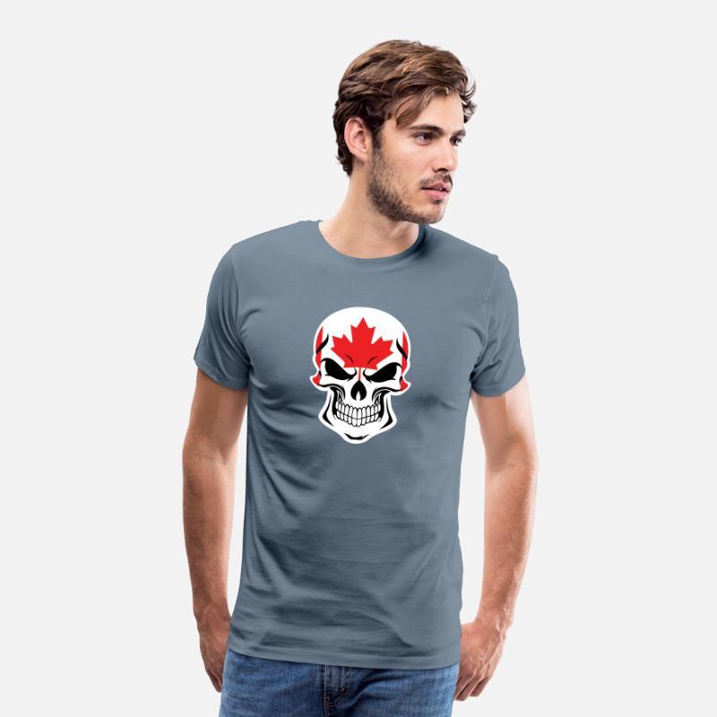 863cfc9fe06 Canada T-Shirts - Canadian Flag Skull - Men s Premium T-Shirt steel blue
