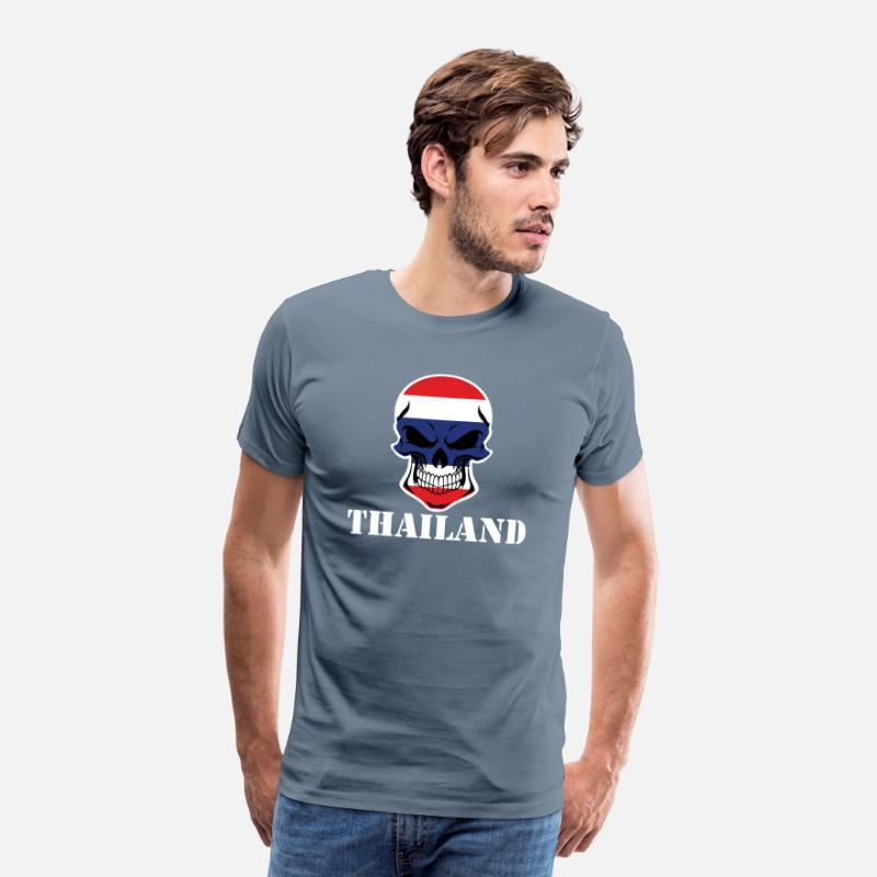 Country T-Shirts - Thai Flag Skull Thailand - Men's Premium T-Shirt steel blue