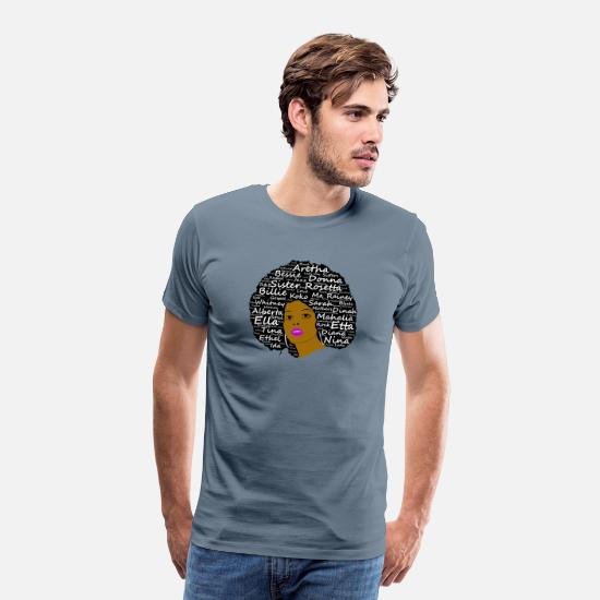 Black T-Shirts - Black History Month Powerful Singers Natural Hair - Men's Premium T-Shirt steel blue