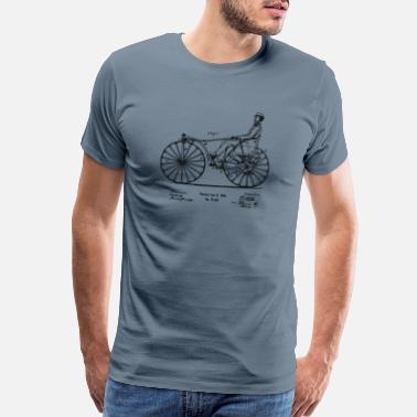 Retro Cycling Patent Blueprint 1869 Velocipede Bicycle - Men's Premium T-Shirt